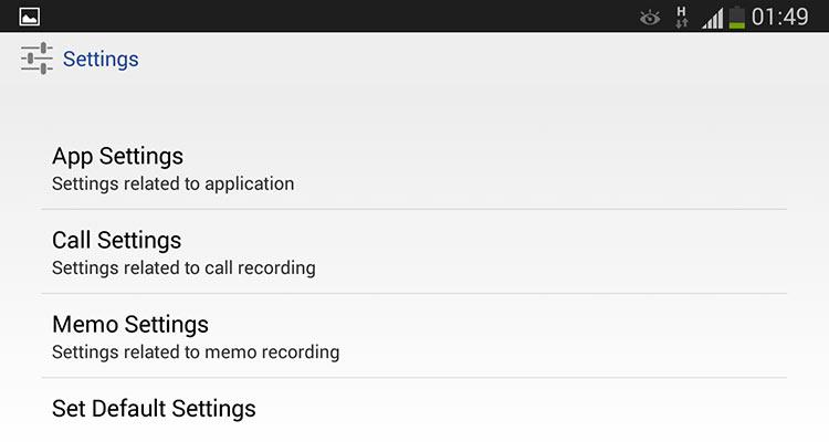 Opciones para grabador de llamadas